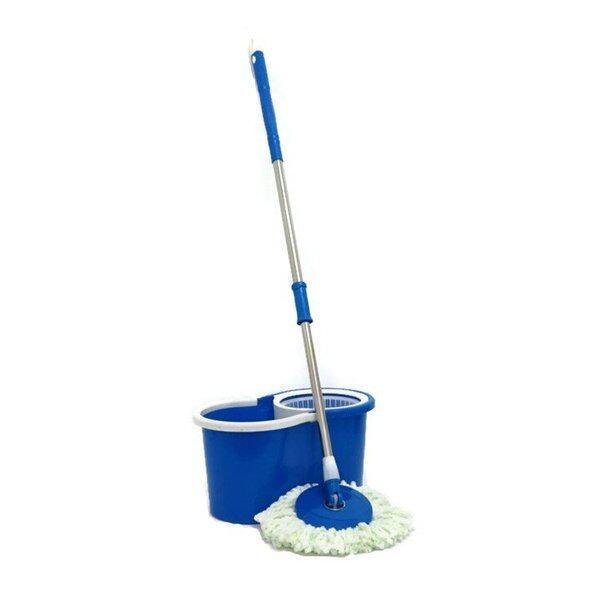 Spin Mop Magic Mop Cleaner Bucket 2 Mop Heads Blue