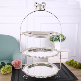 European cake plate silver plated Fruit tray three layer dessertrack living room wedding birthday west restaurant dessert plate