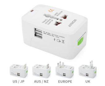 Fengsheng Adapter Dual USB Charging Ports Universal Worldwide Travel Wall Charger AC Power Adapter with AU UK US EU Plug and Protection Board Function