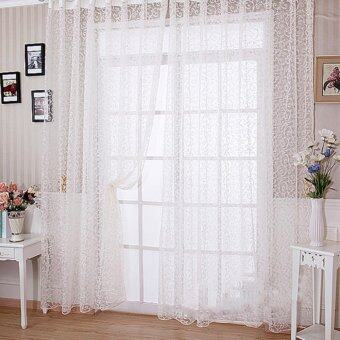 Floral Tulle Voile Door Window Curtain White