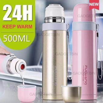 Fuguang 500ml Thermal Vacuum Flask Stainless Steel Thermos Water Bullet Bottle (Pink)