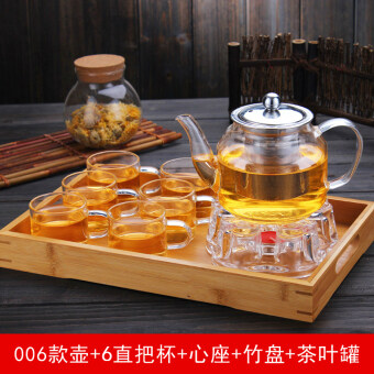 heat-resistant glass flower pot teapot tea suit transparent filter herbal tea fruit tea heating cook teapot cup