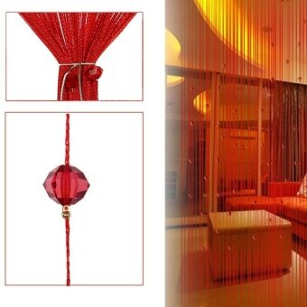 Ishowmall Tassel Curtain Crystal Beads String Curtain Window DoorDivider Sheer Curtains Red