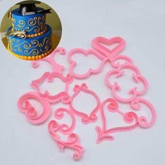 Jiayiqi 12pcs Flower Cake Mold Lace Heart Cake Cookies PastryFondant Cutter Embossed Decorating