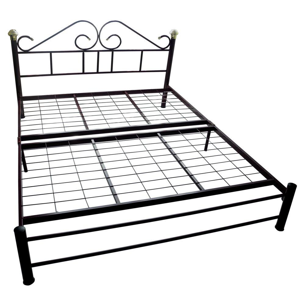KD208 Queen Size Metal Bed Frame Double Bed Maroon Colour