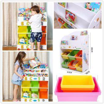 Kids Wooden Toy And Book Storage Shelf 3 Level Childrens Bookcase Bookshelf Small Size 63CM*30CM*89CM HX92013