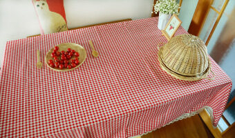 Korean modern minimalist fresh plaid pastoral Linen table cloth Nordic rectangular tablecloth coffee table cloth cover towel