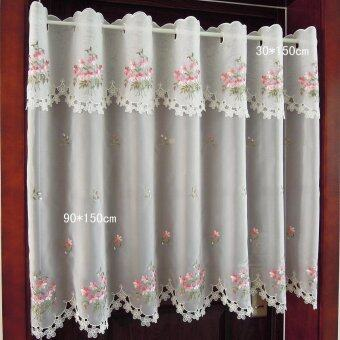 Korean style embroidered curtain finished product kitchen cabinet coffee curtain trade curtains