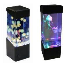 Dsstyles LED Mini Ikan Tangki Air Ringan Kotak Bola Air Akuarium Jellyfish Lampu Bedside Cabinet Lighting NightLight Gaya: jellyfish Lampu Daya: 5 W