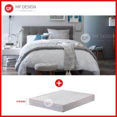 Mf Design Louis Fabric Queen Divan Bed Frame Grey With Vs Series 1 High
