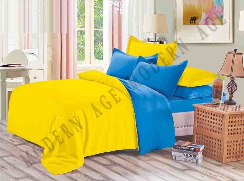 Yanasen plain mixed colors fitted bedding set with quilt - Light blue and yellow bedding ...