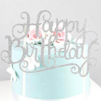 Moonar Glitter Happy Birthday Cake Flag Topper Favors Sticker CakeBanner Card Party Decor
