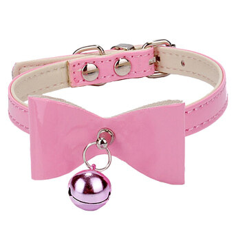 Moonar Pet Cat Dog Adjustable PU Leather Bowknot Neck Jingle BellCollar (Pink)