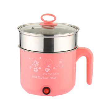 Multi-function Stainless Steel Electric Cooker, Electric Cooker, Electric Hot Pot- Pink with Staniless Steel Steamer