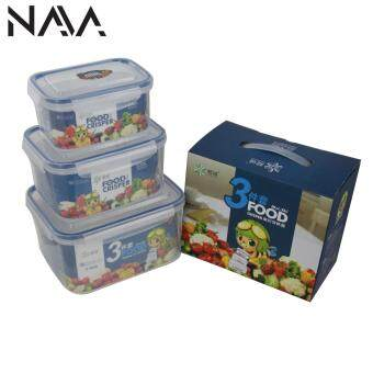 NaVa 3 In 1 Large Food Container with Rubber Sealed Air Tight Locker