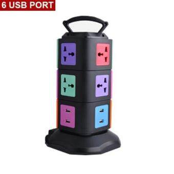 NEW-XIGANG (3T6U) Colorful 3 Floors Outlet Multi Sockets Universal Power Strip with 9 Individual Switches Multi-Sockets and 6 USB Port UK Plug[NP 56]- Black