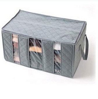 niceEshop Three Grid Bamboo Charcoal Clothing Storage Box WithWindows Category