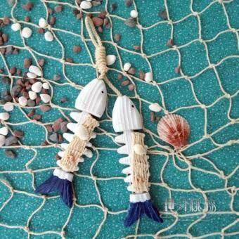 Ocean series decorative creative wooden double fish bone pendant Mediterranean style craft products Wooden Fish string