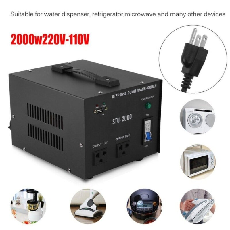OSMAN 2000W 110V Electrical Power Voltage Converter With USB Transformer Black US plug