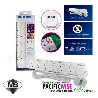 Philips Extension Plug Sockets White with 6 Gang Way-Heavy Duty