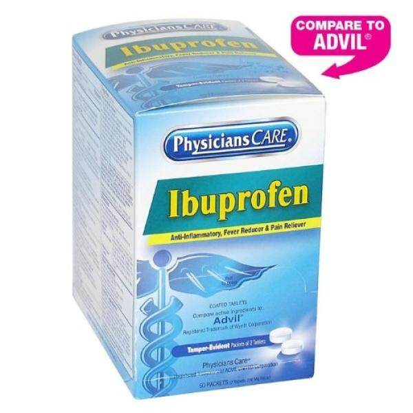 PhysiciansCare Ibuprofen Pain Reliever Medication 200mg, 50 Packets of Two Tablets - intl