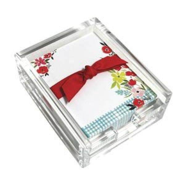 Poppy Garden Acrylic Desk Note Set, Memo Sheets and Acrylic Holder, 150 Note Papers, 3.25 x 4.25