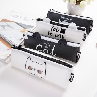 RHS Student Lovely Cat Pencil Case Boxes Pen Holder Storage PouchMakeup Bag(Black)