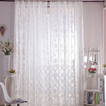 Romantic Floral Tulle Voile Curtain Drape Panel Sheer Scarf Valances White