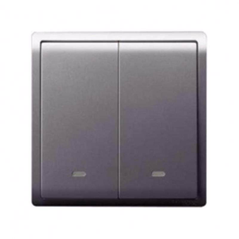 Schneider Pieno 16A x 250V 2 Gang 1 Way Switch With Fluorescent Locator, Silver