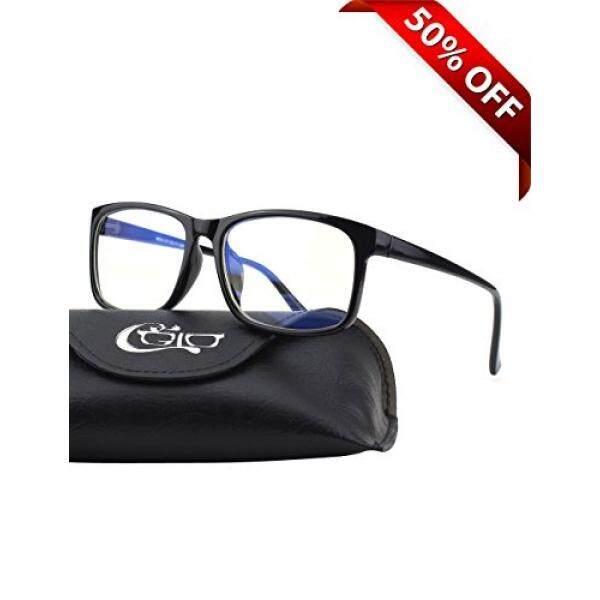 [Seoul Lamore] CGID CT12 Blue Light Blocking Glasses, Anti Glare Fatigue Blocking Sakit Kepala Ketegangan Mata, Kacamata Keselamatan untuk Komputer/Telepon, Rectangle Bingkai Hitam, Transparan Lensa-Intl