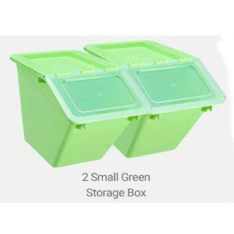 Set of 2: Versatile Transparent Stackable Colorful Storage Box -Small