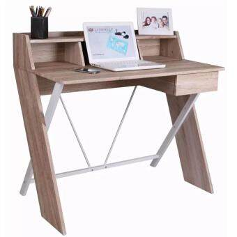 Simple Home & Living Steel Wooden Cross Legs Computer Table with Drawer - [Design 8]