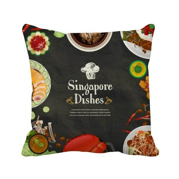 Singapore Famous Delicious Dishes Square Throw Pillow Insert Cushion Cover Home Sofa Decor Gift - intl