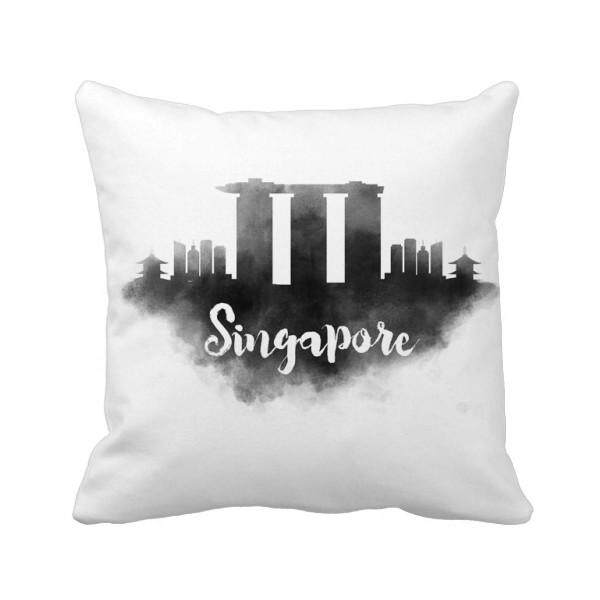 Singapore Lankmark Ink City Painting Square Throw Pillow Insert Cushion Cover Home Sofa Decor Gift - intl