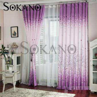 SOKANO CT005 Premium Quality Printed Curtain (2 Panels) 200cm x 270cm- Purple Tree Design