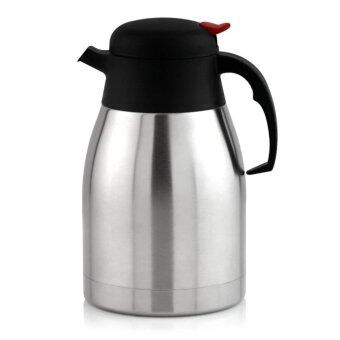 Stainless Steel Vacuum Flask / Thermal Carafe Pitcher - 1.2 Liters Capacity - Double Wall Vacuum Insulation - Stainless Steel Unbreakable Construction - For Hot and Cold Beverages
