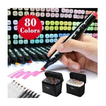 TouchFive 80 Colors SET, Touch Five Art Twin Tip Pen Marker (Black)