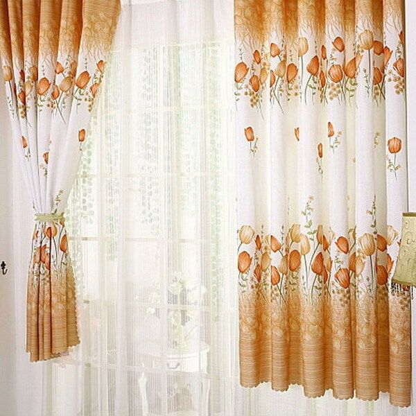 Print floral voile door window room curtain purple for Door net curtains