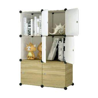 Tupper Cabinet 6 Cubes DIY Storage Cabinet-Brown Wood Design