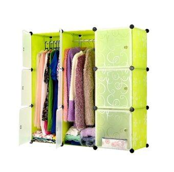 Tupper Cabinet DIY Wardrobe 9 Cubes (Green Flower)