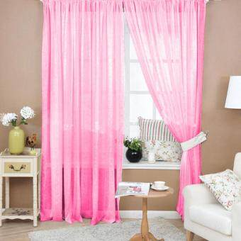 Valances Colors Floral Tulle Voile Door Window Curtain Dark Pink