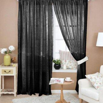 Valances Floral Tulle Door Window Curtain Black