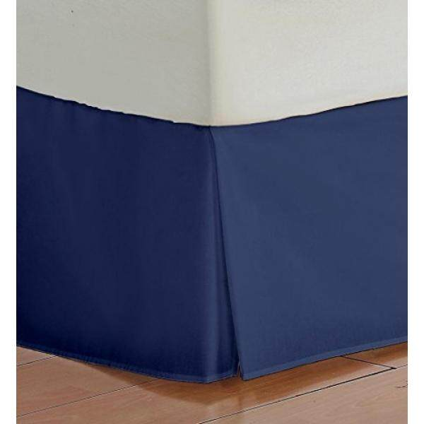 Vedanta Home Collection Hotel Quality 700-Thread-Count Egyptian Cotton Queen Size One Piece Split Corner Bed Skirt 16 Inch Drop Length Navy Blue Solid - intl