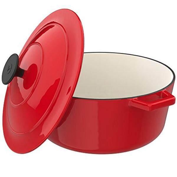 Vremi Berenamel Melemparkan Iron Dutch Oven Pot With Tutup-Kapasitas 6 | Skor Menyiapkan Rendah atau Lambat Memasak Makanan -Elektrik Gas Induksi Kompor Oven Kompatibel Peralatan Masak-Dalam Besar Ovenproof-Merah-Internasional