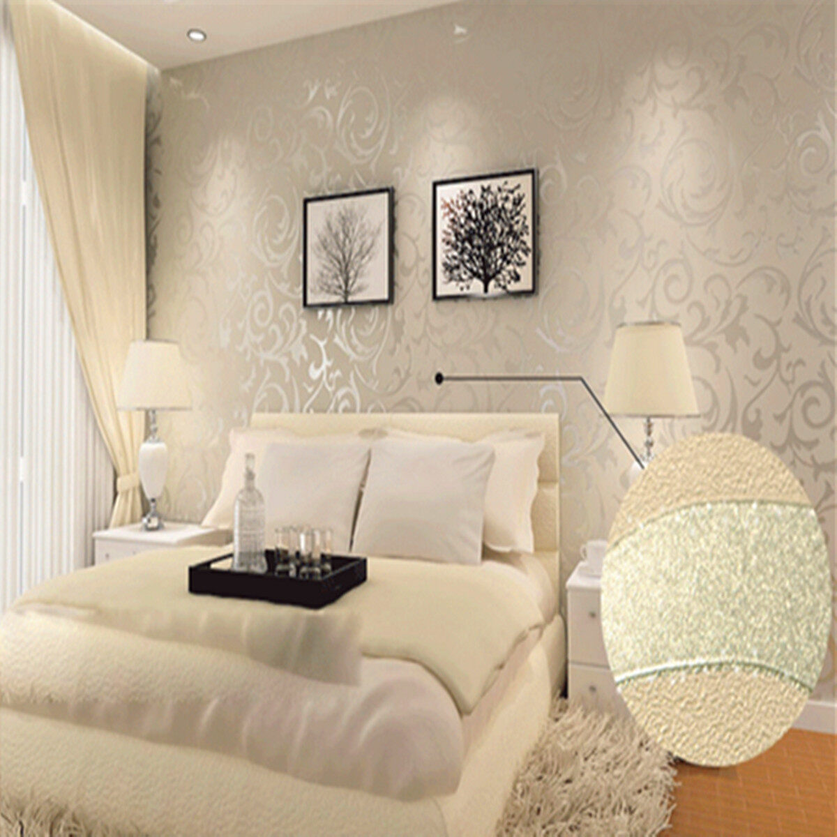 Silver Wallpaper For Bedroom Wallpaper Roll Damask Textured Embossed Home Decor 10m Silver
