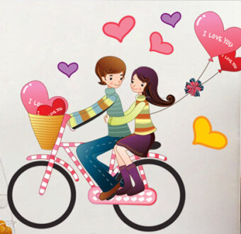 Warm and romantic cute wedding room couple wall stickers Wallpaper