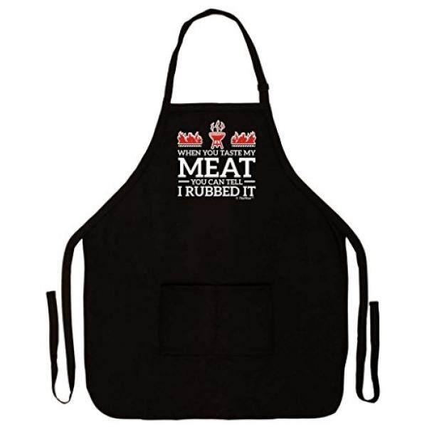 Saat Anda Rasa Daging Saya Anda Dapat Memberitahu Aku Menggosoknya Lucu Apron untuk Dapur BBQ Barbecue Memasak Memanggang Tailgate Bacon Dua Pocket Apron untuk Tailgating BBQ Grill Pit Master Black-Intl