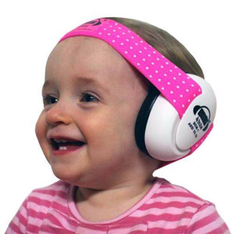 White EMS Baby Earmuffs, with Pink/White adjustable headband, tested to USA and European safety standards for ear protection