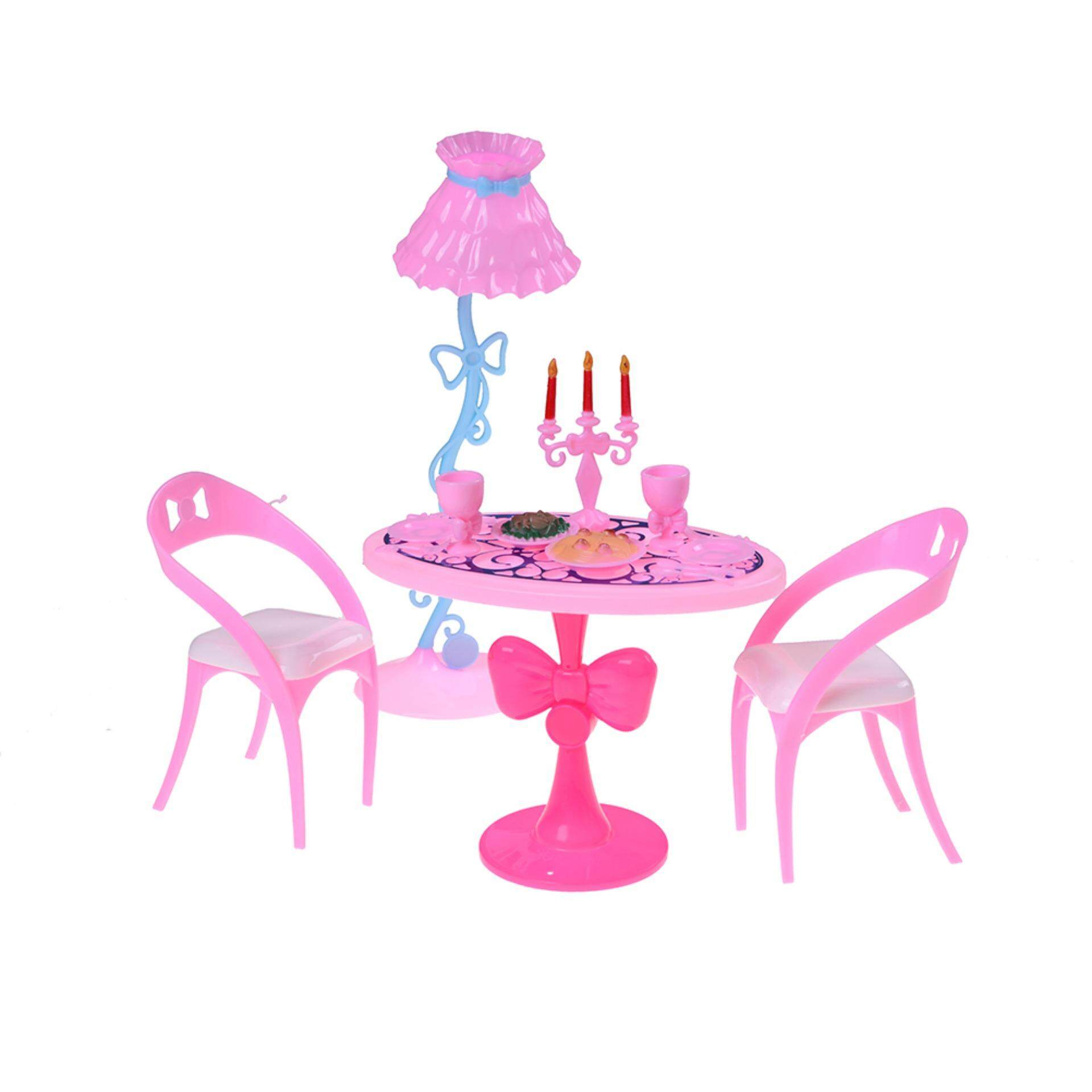 1 Set=17PCs Vintage Dining Furniture Table Chairs Toys For Doll Furniture Sets Wholesale Pink One Size - intl