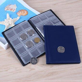 120 Coins Books Collection Storage Money Coin Money Pocket Collecting Pockets-Blue